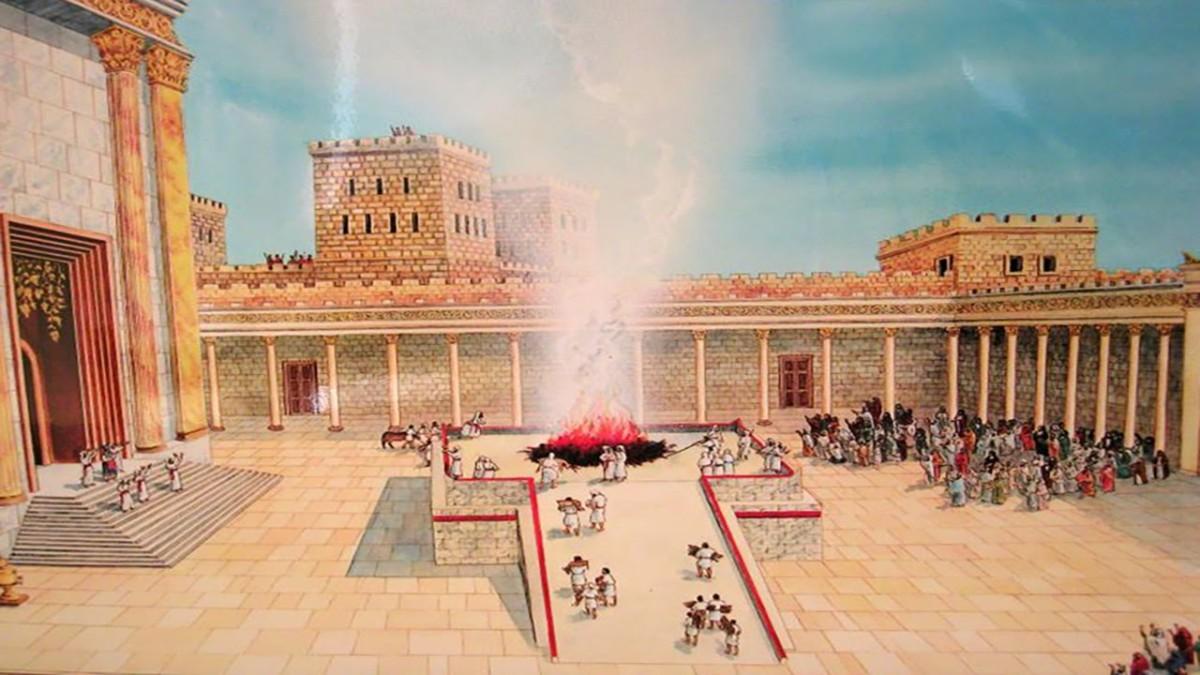 Пандус, площадка и каменный жертвенник во Втором Храме.